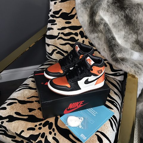 104d1158072d71 Nike Jordan 1 satin shattered backboards Size UK 4.5 (very - Depop