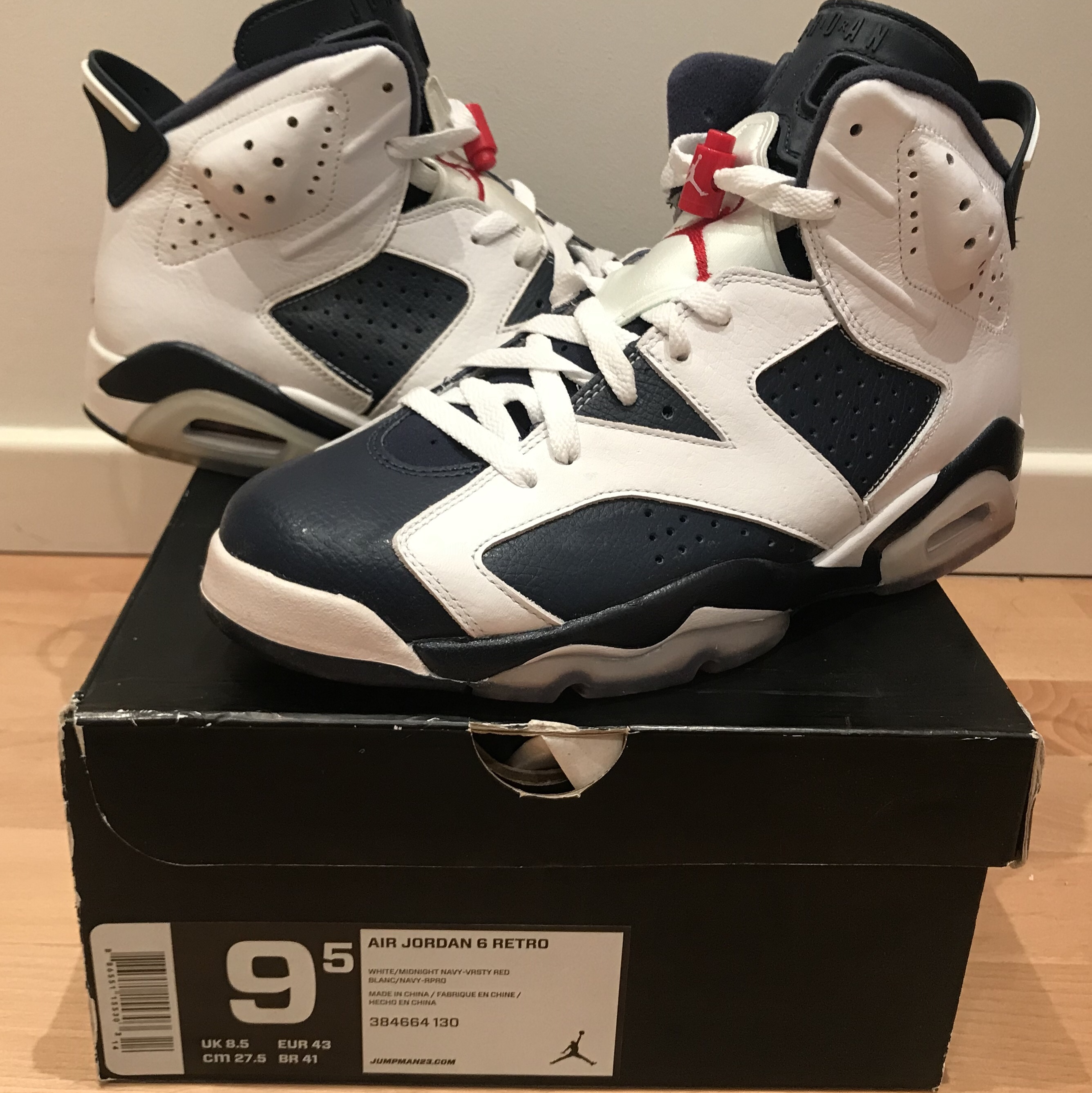 super popular 247dc ae83e Air Jordan 6 Olympic 2012 Retro US9.5 / EU43 new in... - Depop