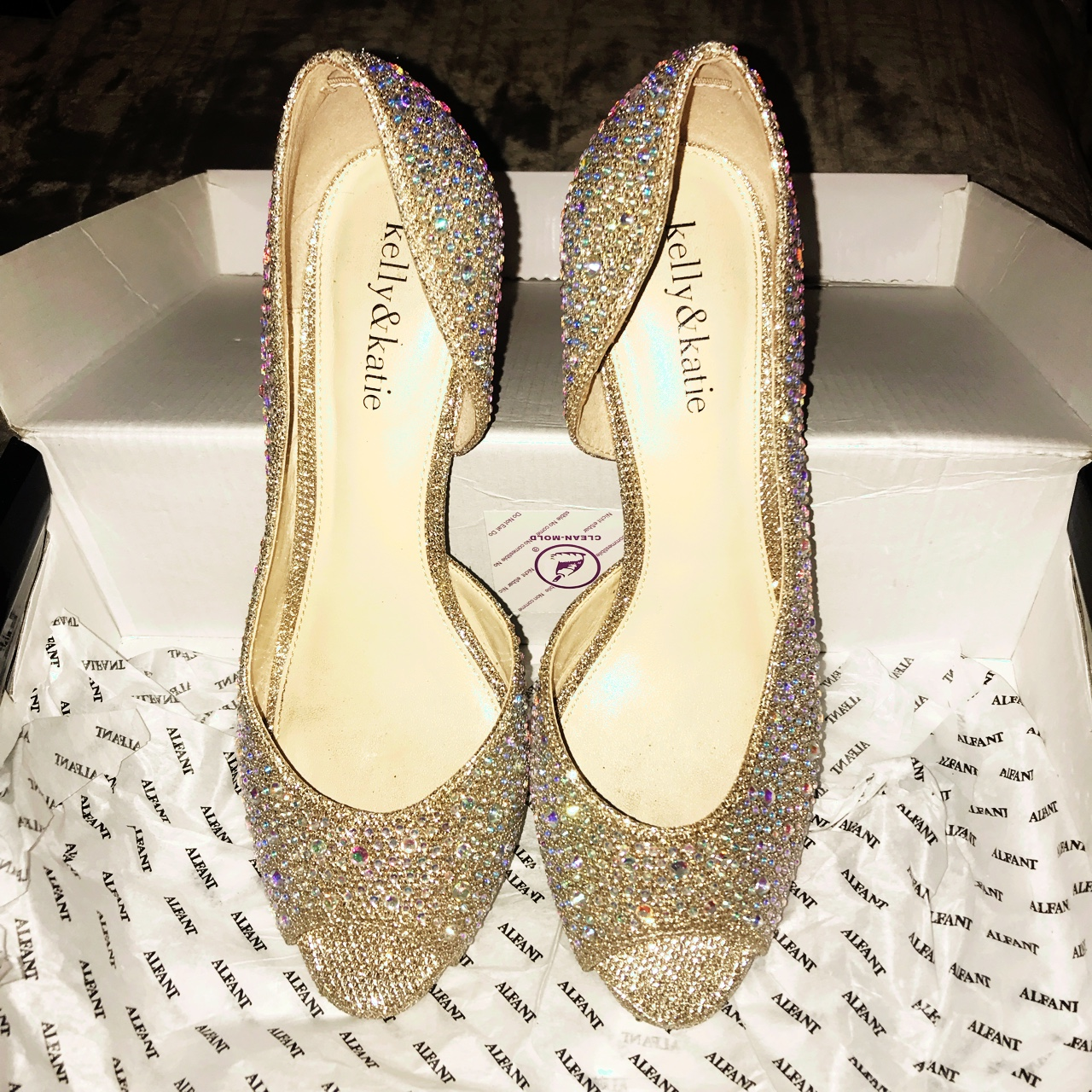 Kelly \u0026 Katie Gold Studded Heels Open toe , low heel , Depop