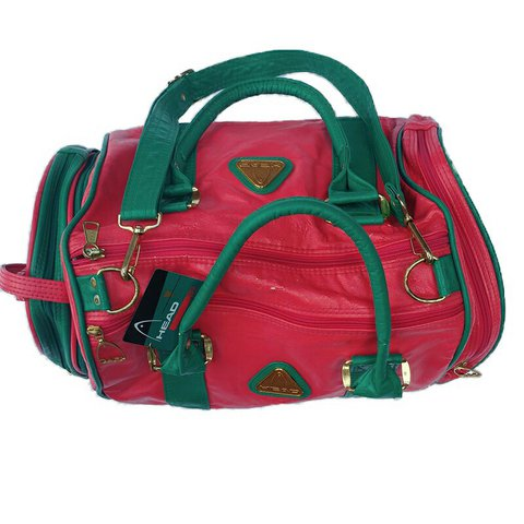 cfeac740353d Red and green vintage head sports bag 90s retro gym colours - Depop