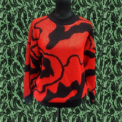 ffc551be 1980s sparkly black and red abstract knitted pullover 44