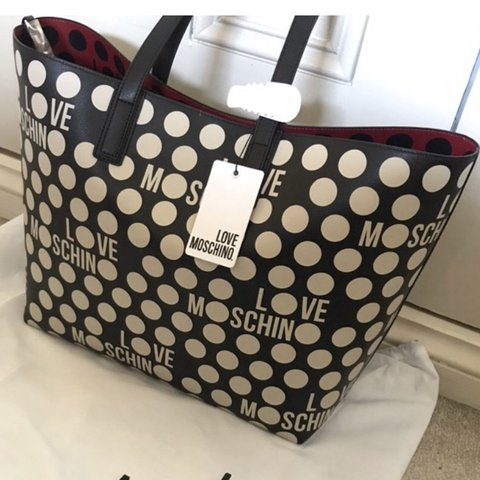 771f665128 Moschino black and white polka dot bag. New and never used. - Depop