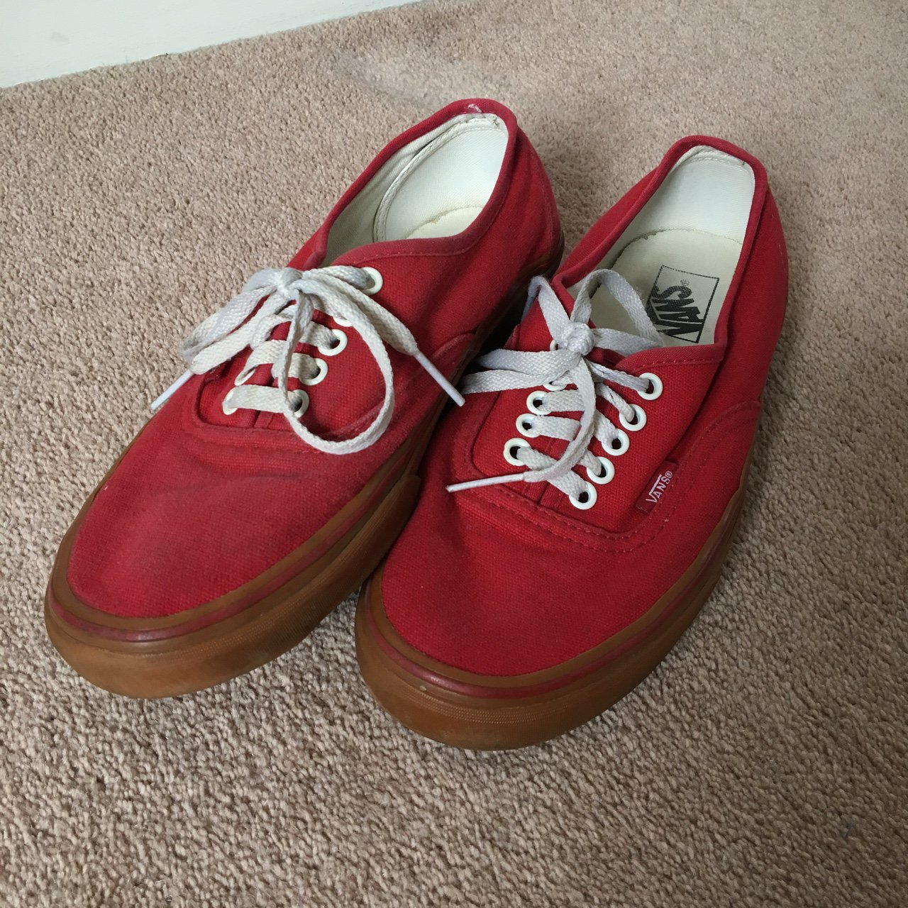 Vans Authentic Red + Gum. Slightly worn but good condition - Depop 3785ee9a2b5b