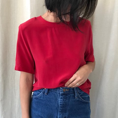2205843b Vintage 90s mod boxy style 100% silk red blouse. Great chic - Depop