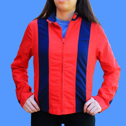 2847c7bc VINTAGE Tommy Hilfiger Red, White, and Blue Sports blast the - Depop