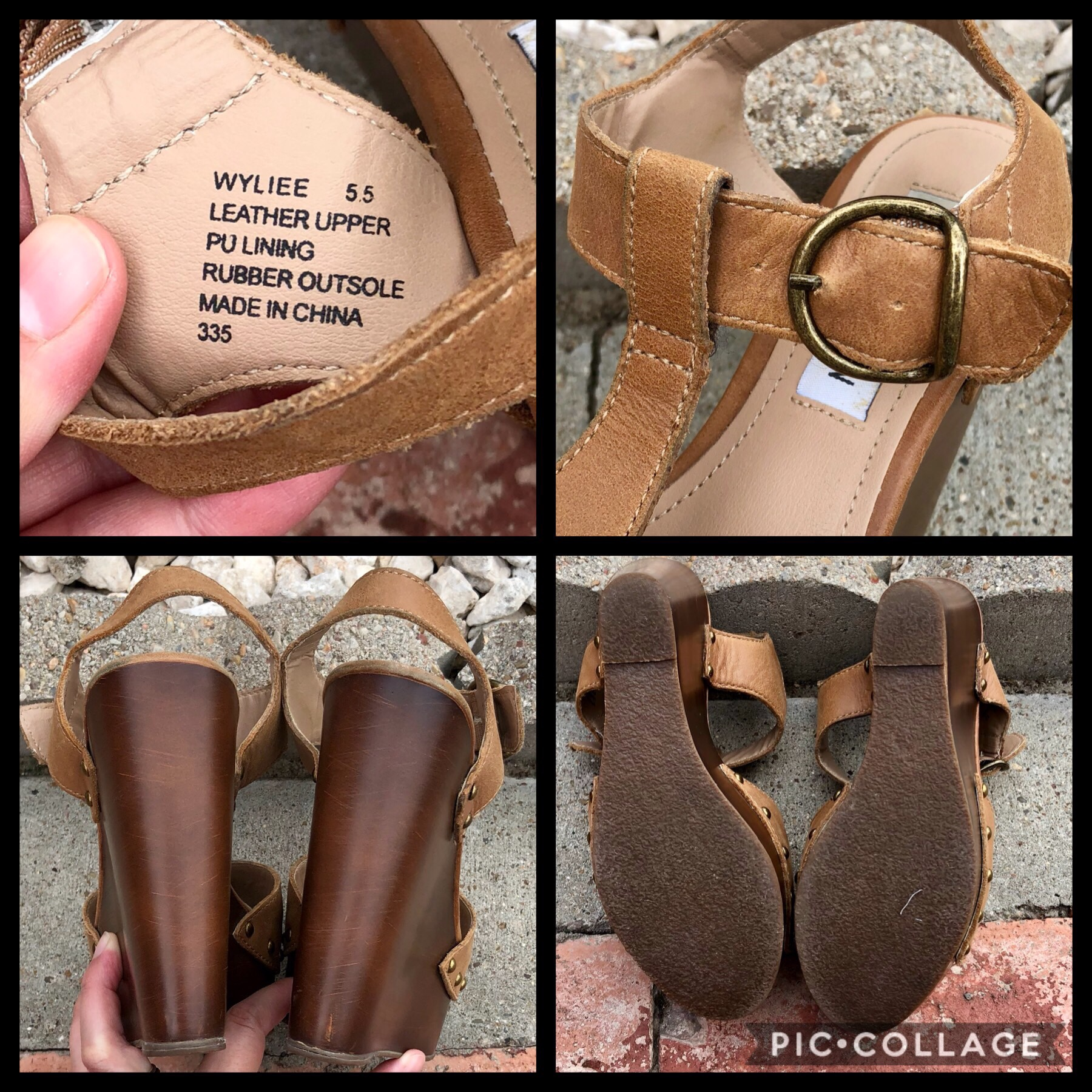 640c390f485 Steve Madden WYLIEE leather t-strap wedge sandals... - Depop