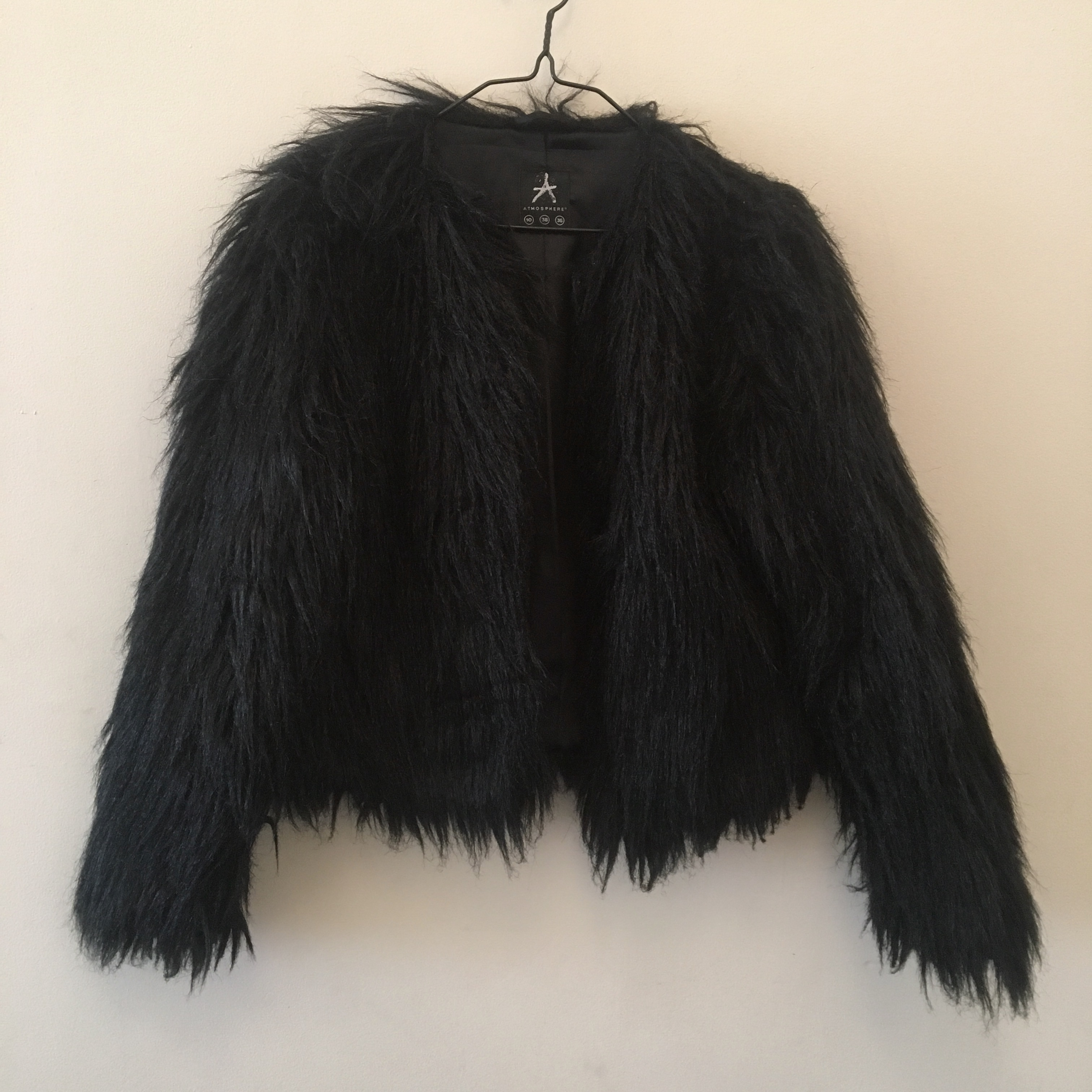 1ab2f22c191 aprilwinters. London, United Kingdom. Primark Ostrich feather style coat in  black.