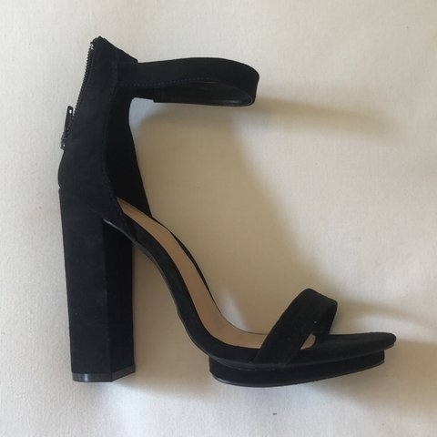 a38253778ba Black faux suede block heels   heeled sandals from tobi