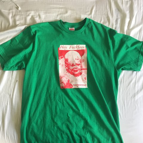 2229a3ceb6d SUPREME fuck face tee green red Price negotiable 100% - Depop
