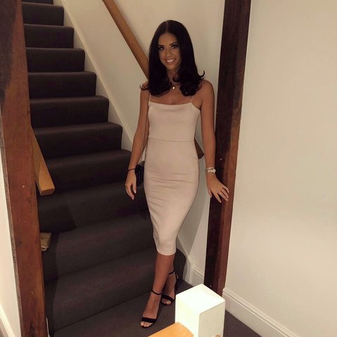 d132b47f05d4 @d_bx. 8 months ago. Hertford, United Kingdom. Missguided Nude Strappy  Square Neck Suedette Midi Dress.