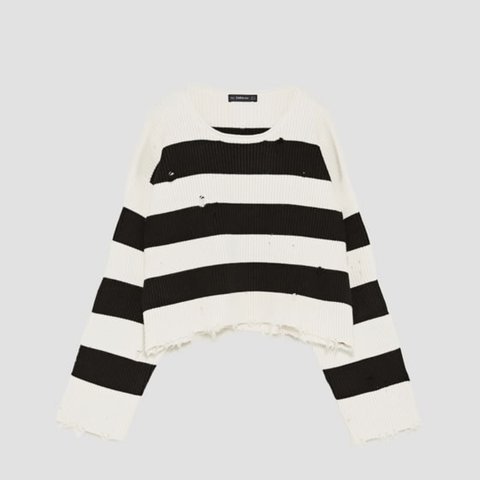 aca384d7ab Zara black and white striped cropped jumper. Brand new with - Depop