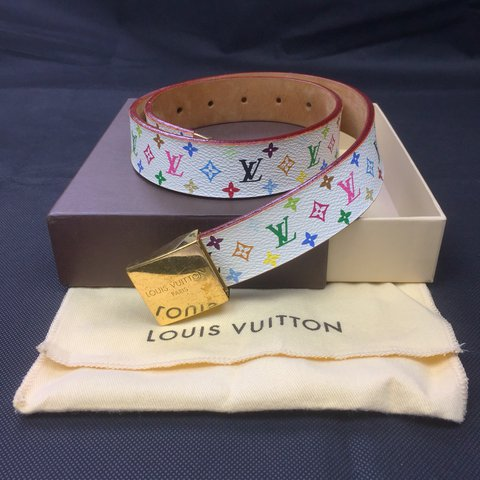 f826cfb46152  oliversarchive. last year. United Kingdom. Authentic Louis Vuitton Multi  Coloured Monogram Belt • Some scratching ...
