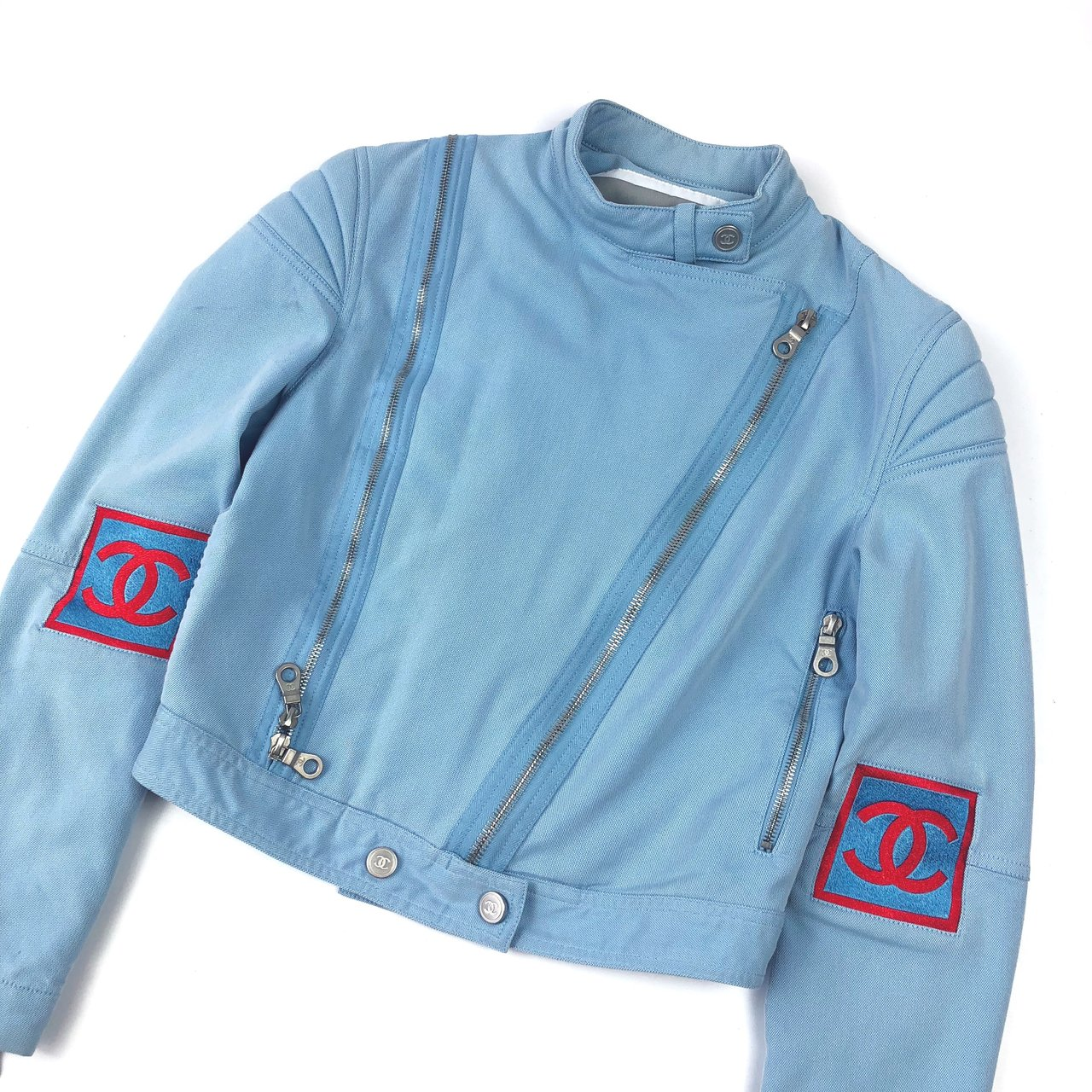2afc14e3a Authentic Chanel Identification Baby Blue Biker Jacket • IT - Depop