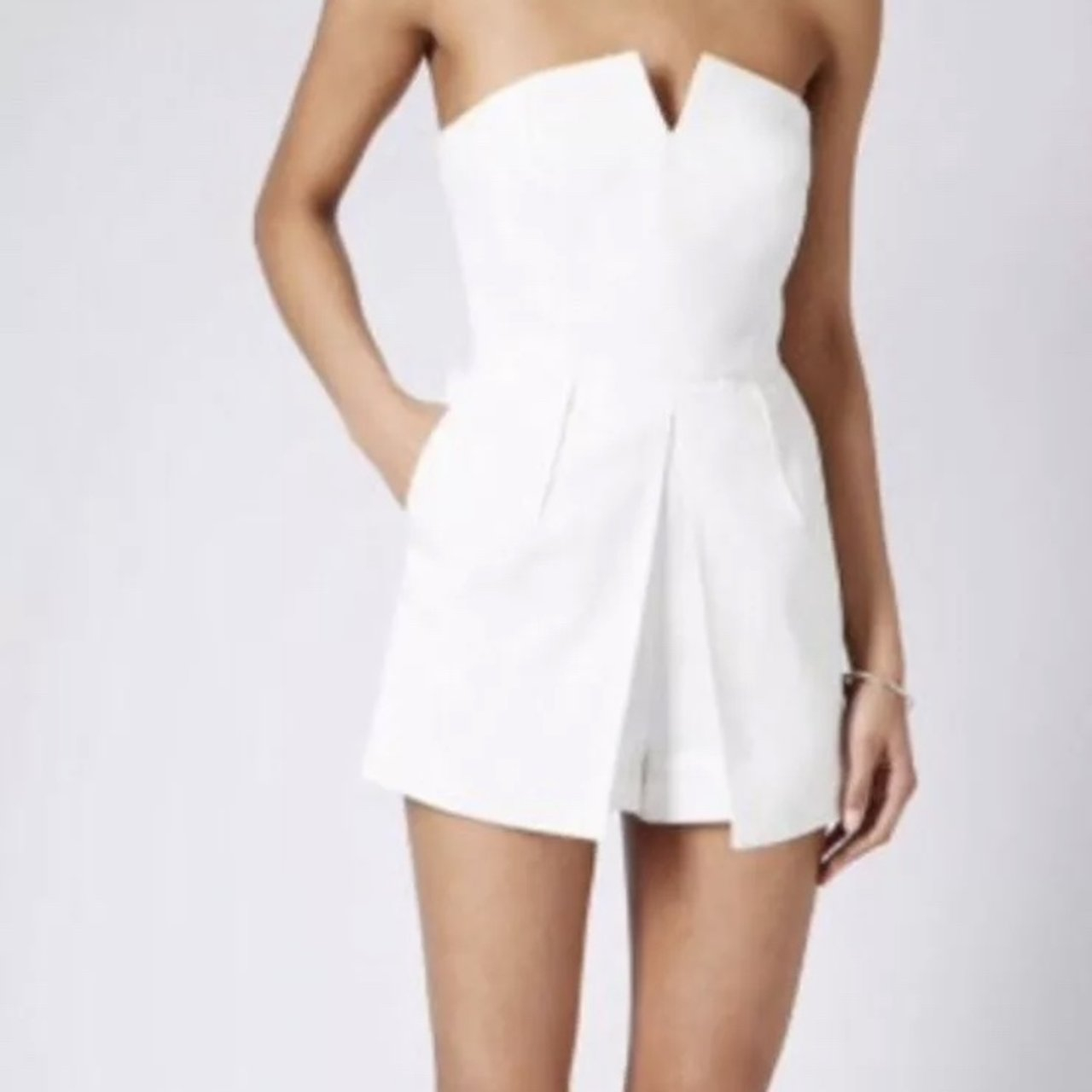 b53b7357ba White Strapless Playsuit Topshop Size 10 - small so fits an - Depop