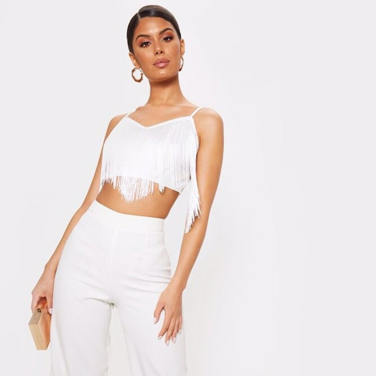 e157adbdefe White tassel crop top. Never worn and still has tag on. Top - Depop
