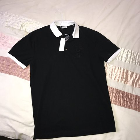 6468258cf Brand new with tags men's Versace Polo black/white LARGE - Depop
