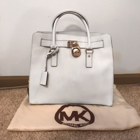 1cb2e1945 100 percent authentic Michael Kors Large White Hamilton tote - Depop