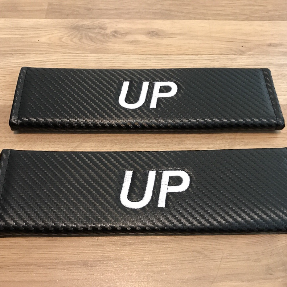 2X Seat Belt Pads Carbon Gift Volkswagen vw UP Move High Groove Take 1 Sport