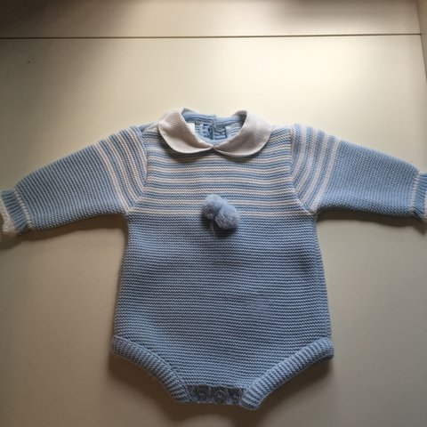 815a9f8966e2 Baby boys blue and white wool one piece knicker suit. Never - Depop