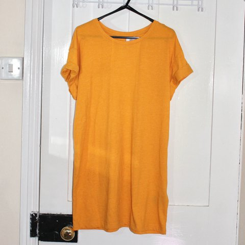 fa91210b2e9 H M orange yellow t-shirt dress Worn once in t-shirt with - Depop