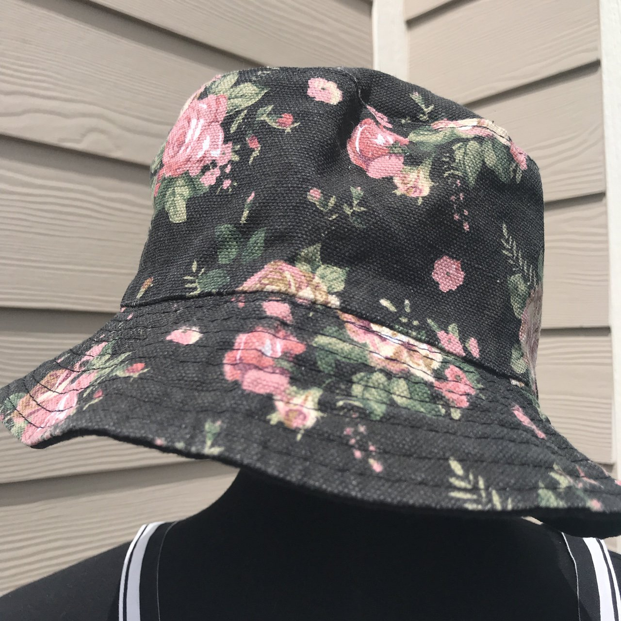 435e8f43ef6 tilly s floral rose bucket hat    one size canvas fabric and - Depop