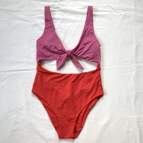 ca2e78dab6 ZARA red and pink one piece swimsuit with cut out design. S. - Depop