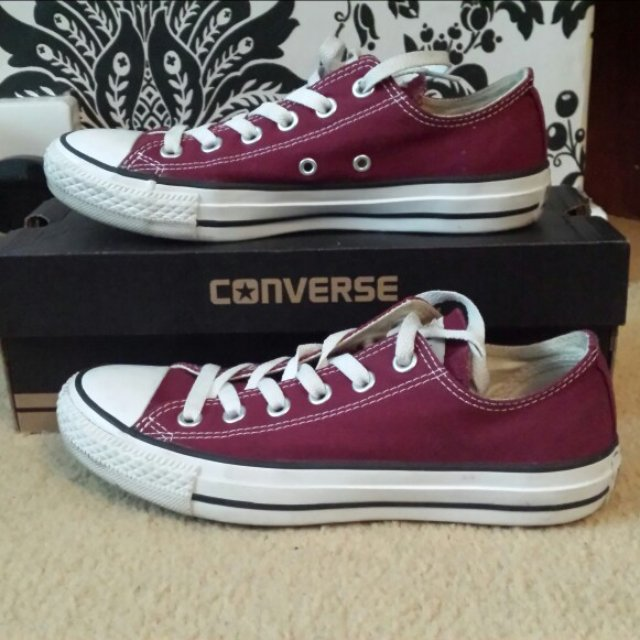 97ee3cfcbb7b Size5 Burgundy  Converse Worn-Perfect Condition with Box be - Depop