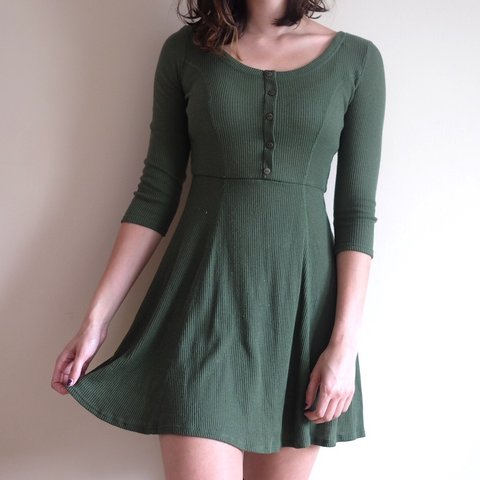3d0107ac870e Olive green henley skater dress by Charlotte Russe. Some in - Depop