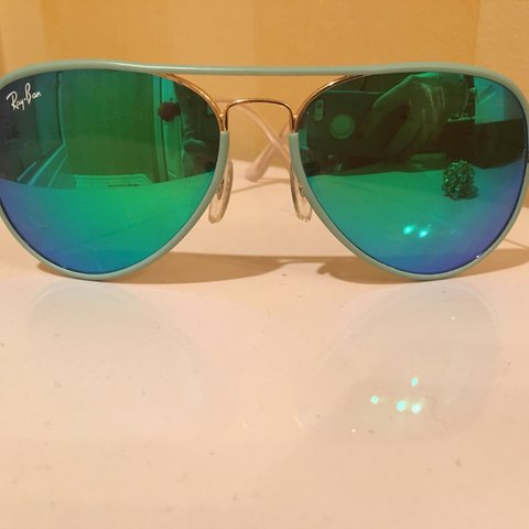 17be34f89a Aquamarine   gold framed ray ban 58mm aviators with green No - Depop