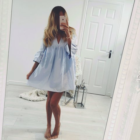 36e50be7b90 Zara poplin jumpsuit dress in light blue ✨ Bloggers new with - Depop
