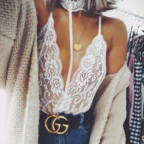 cb75091980 Jozie white lace harness choker detail bodysuit from small - - Depop