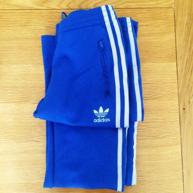 8a26fe399f98 Blue adidas tracksuit bottoms