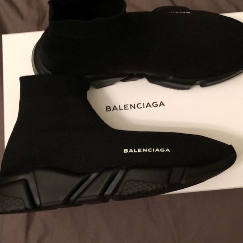 583cd14be2f6b Men s balenciaga speed trainer triple black size 10. Worn or - Depop