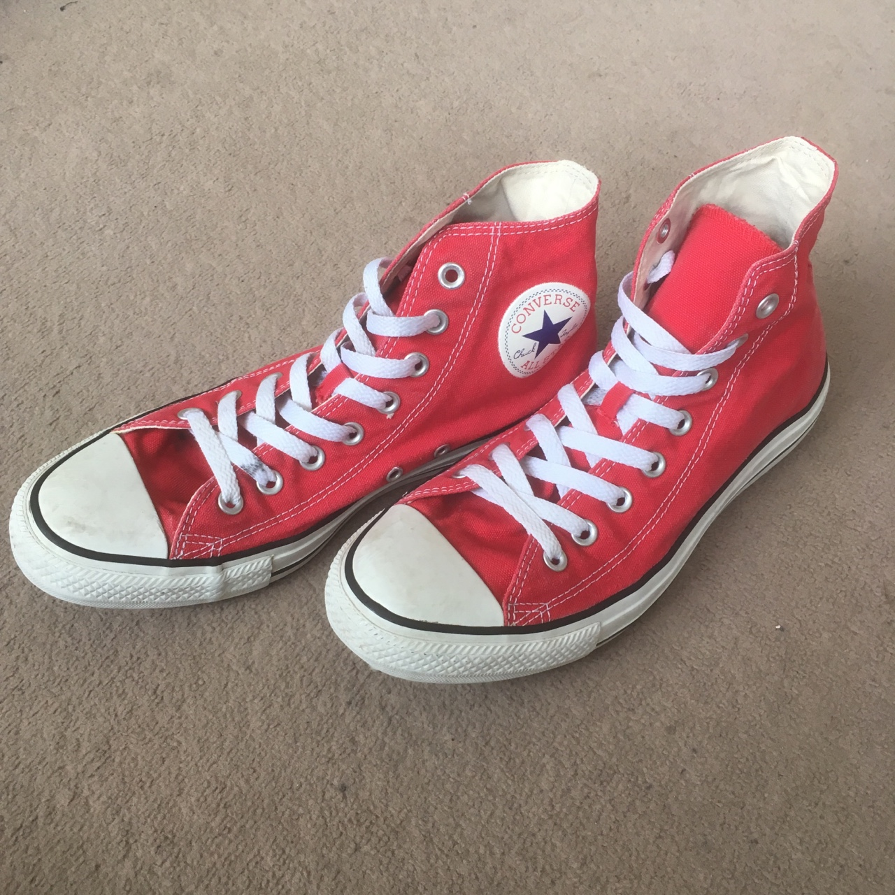 Red Converse Chuck Taylor All Star Hi Top Trainers Depop