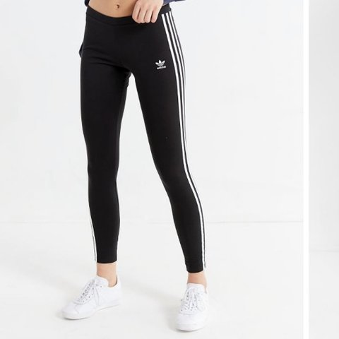 485d6c1610ed6a adidas originals 3 stripes black leggings -black with 3 down - Depop