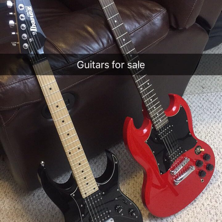 Red Epiphone SG and Black Ibanez Mikro $150 for the    - Depop
