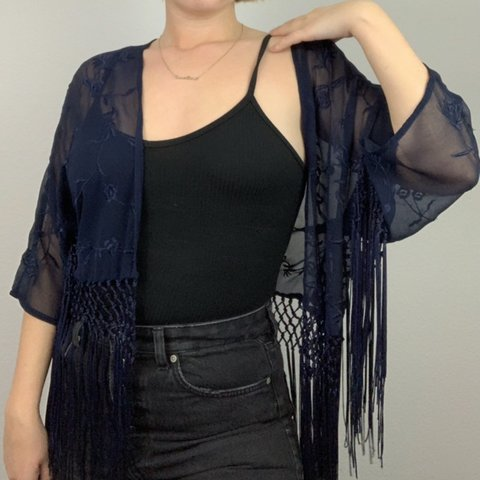 66730758b @cj145. 4 months ago. West Hollywood, United States. Dark blue sheer  fringed kimono jacket from Topshop. Embroidered floral ...
