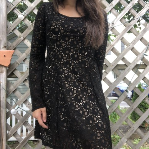 Black Lace Skater Dress With Flare Sleeves Price As Depop