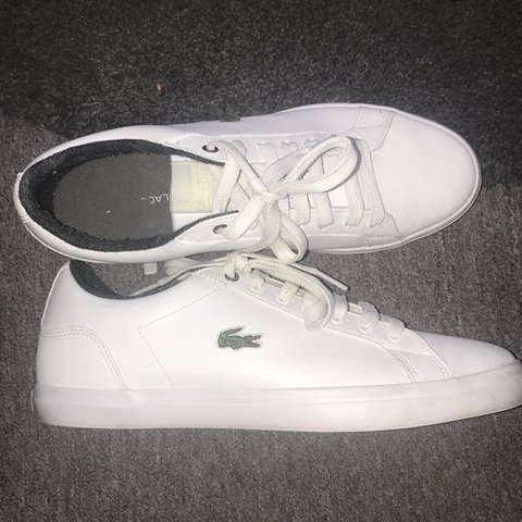 a0058d433a Lacoste Lerond leather trainers size 9 UK smart/casual 9/10 - Depop
