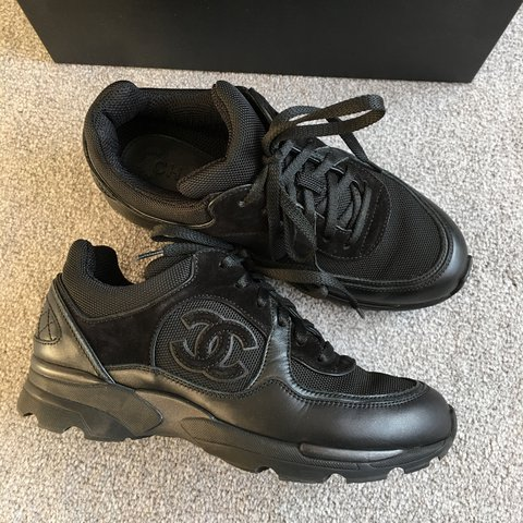 e9c6c39429b Chanel all black sneakers trainers all sold out very rare uk - Depop