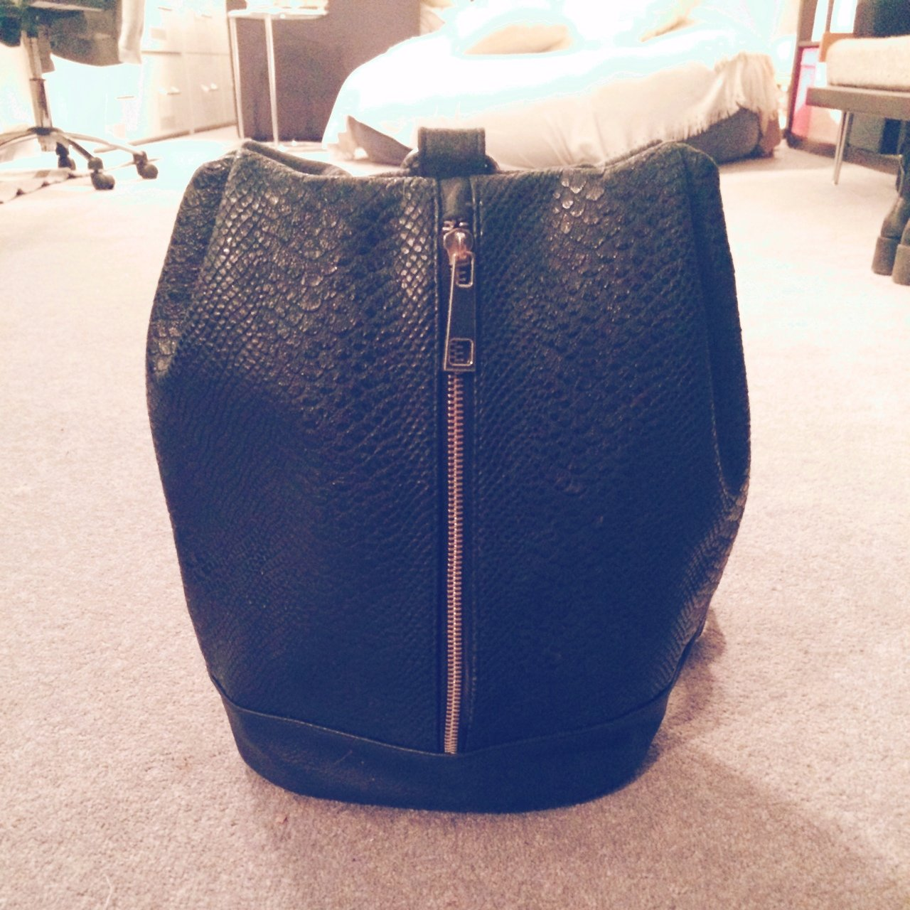 Faux leather crocodile skin backpack. 9024195917a04