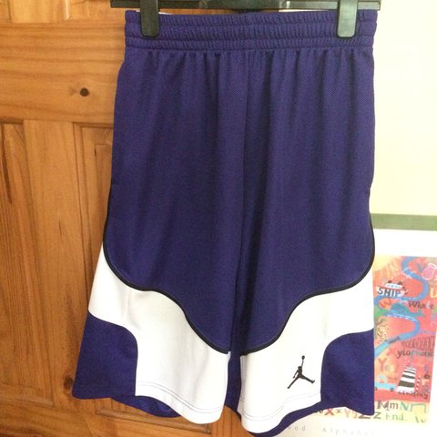55759b05cf0f Dark purple and white Jordan basketball shorts 🏀🏀 Only a - Depop