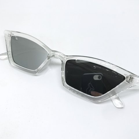 73a1d74fbd19 @sophthatcher. last year. Chester, United Kingdom. Clear and silver mirror winged  cat eye sunglasses ...