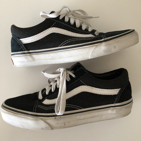 f5a71f5ed9 CANVAS OLD SKOOL classic vans black and white used unisex - Depop
