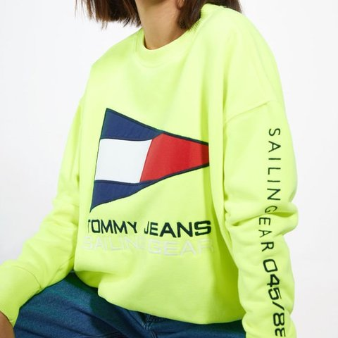 560ed0ea6 @ginalia. 5 months ago. Phoenix, United States. Tommy Jean 90s Sailing Flag  Logo Sweatshirt -neon green/yellow -perfect condition -only worn a few times