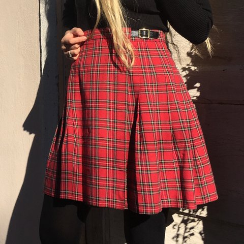 9be3b75cc @yooca_vintage. 5 months ago. Richmond, United States. Vintage 90s grunge  made in USA cherry red tartan plaid high waisted wrapped pleated school  girl mini ...