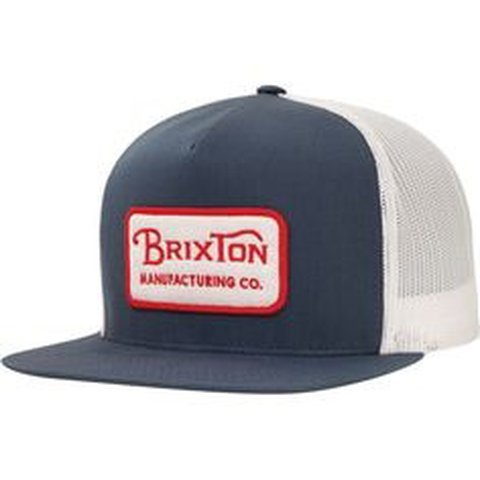 3eca33bf780de Brixton Trucker SnapBack in Blue   White With a Red   White - Depop