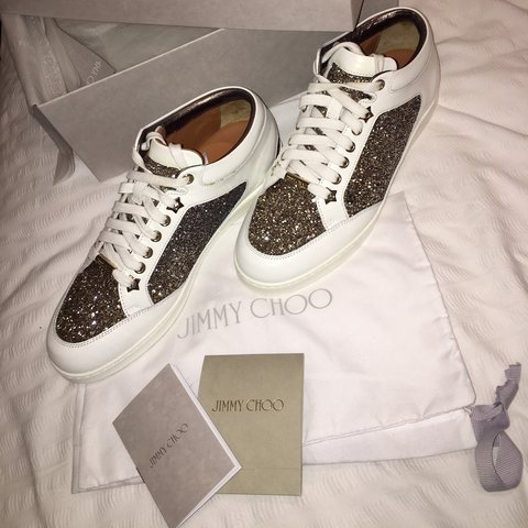 c2c8c662afa Jimmy choo Miami trainers White with degrading gold silver   - Depop