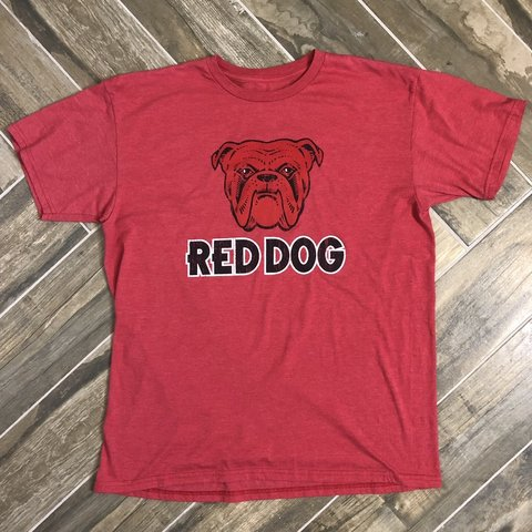 abf4ac4e @curatedvibe. 4 months ago. Phoenix, United States. Red Dog beer t shirt  with bulldog logo. Men's size XL ...
