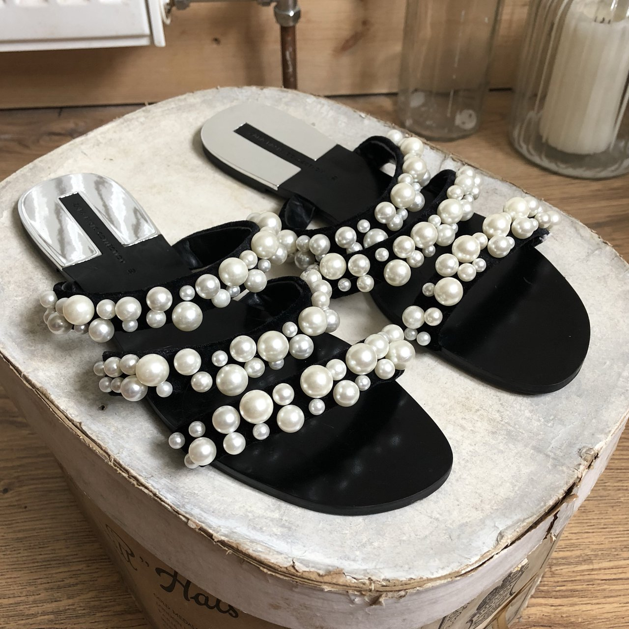 Zara pearl strappy sliders sandals. size 6 worn once but - Depop